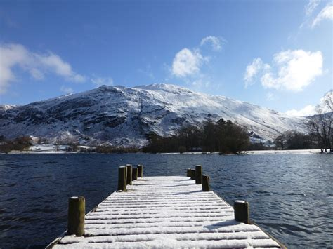 The Place Ullswater Snow In Patterdale Helvellyn S
