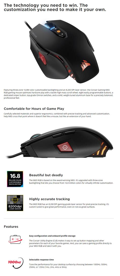 Corsair Gaming Mouse M65 Rgb Ch 9000109 Na corsair gaming m65 rgb fps laser gaming mouse black ch