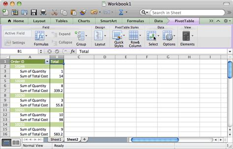 ms excel 2011 for mac display the fields in the values