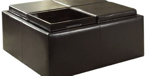 4 Tray Top Storage Ottoman Homelegance Contemporary Storage Ottoman With Four Flip Top Tray Inserts Brown Faux By