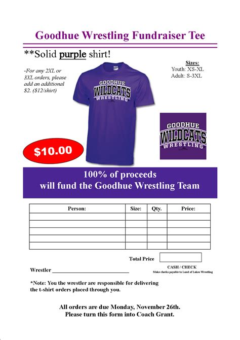 Apparel Goodhue Wrestling T Shirt Fundraiser Flyer Template