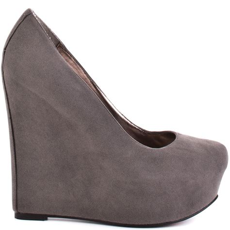 luichiny sur fer wedge grey suede shoes for wacoz