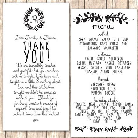 Thank You Letter Dinner Whimsical Menu And Thank You Card For Wedding Dinner