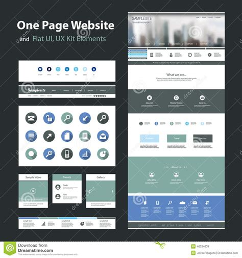 One Page Website Design Template And Flat Ui Ux Elements Stock Vector Illustration 46024639 Ux Website Templates