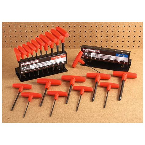 hex tool set 20 pc powerbuilt 174 t handle sae metric hex wrench set 298476 tools tool sets at