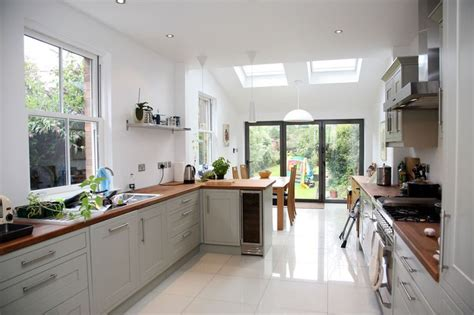 Kitchen Extension Design Ideas Kitchen Idea Longer Kitchen Design With Small Velux Extension And Bifold Doors Design