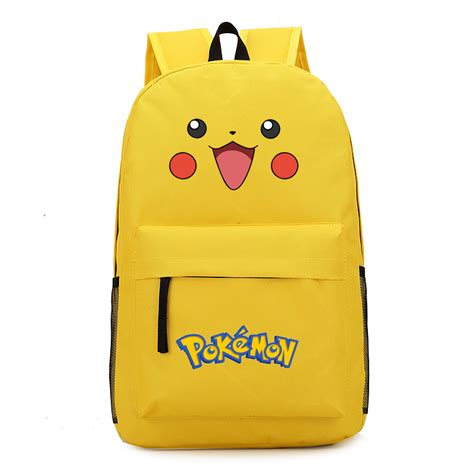 printed canvas backpack with pouch vn 2016 pikachu smile printed canvas bag