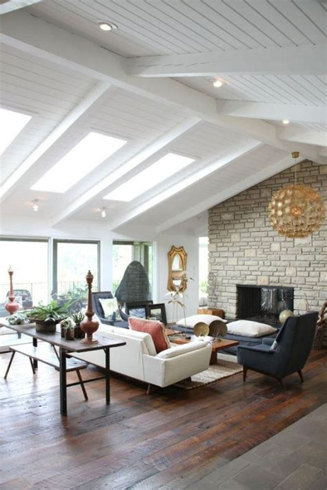 Fireplace Vaulted Ceiling by Vaulted Ceiling Beams Skylights Those Floors