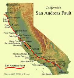 san andreas california map san andreas fault california map california mappery