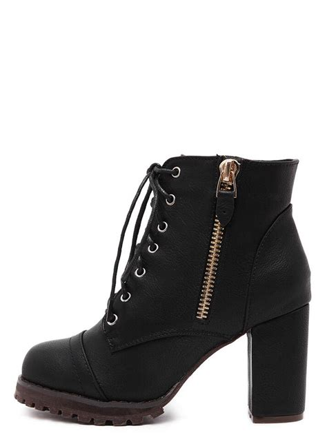 Platform Boots Side Zipp Cm15 Hitam Limited black lace up side zipper chunky heels ankle boots shein sheinside