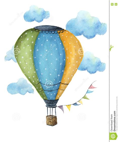 watercolor pattern with air balloons and clouds stock watercolor hot air balloon set hand drawn vintage air