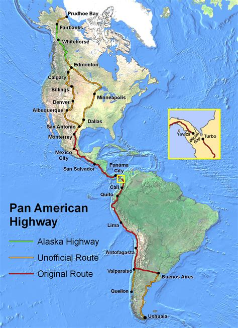 map of the pan american highway panamerican highway size