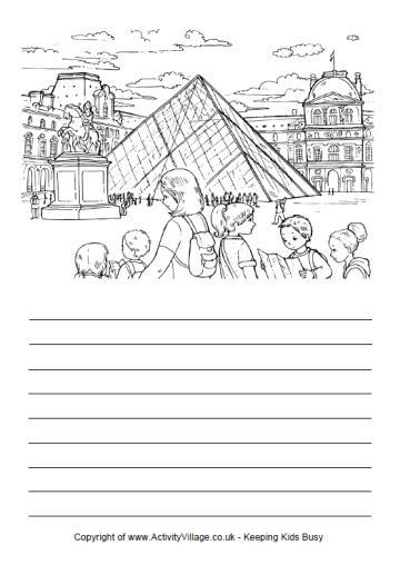 printable handwriting paper activity village story paper paris louvre