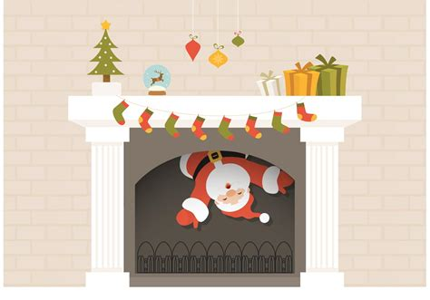 free santa descends from fireplace vector