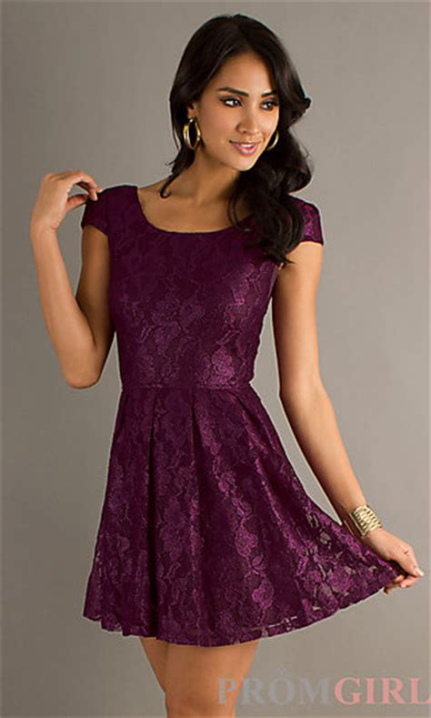 Foreni Plain Flare Mini Dress purple lace prom dress cap sleeve dresses