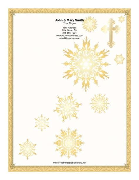 printable gold snowflakes gold cross snowflakes stationery