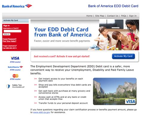 find a bank of america www bankofamerica eddcard how to activate your edd