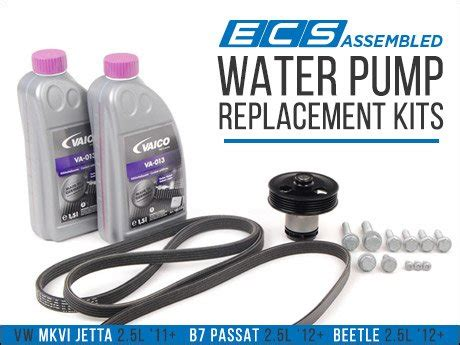ecs news vw mkvi jettab passatbeetle  water pump kits
