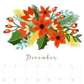 printable december 2018 calendar monthly planner floral