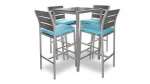 table haute dazzio en alu bross 233 inoxydable avec 4 chaises