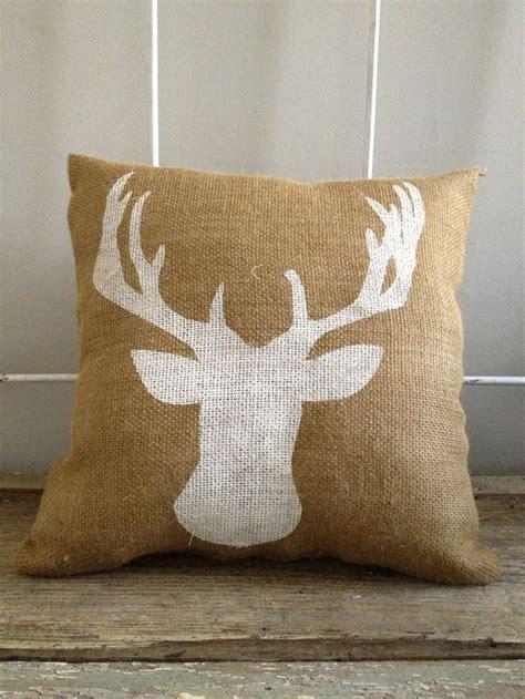 Deer Pillow by Deer Bust Burlap Pillow Deer Silhouette Reindeer