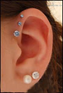ear anti helix and dual lobe piercing