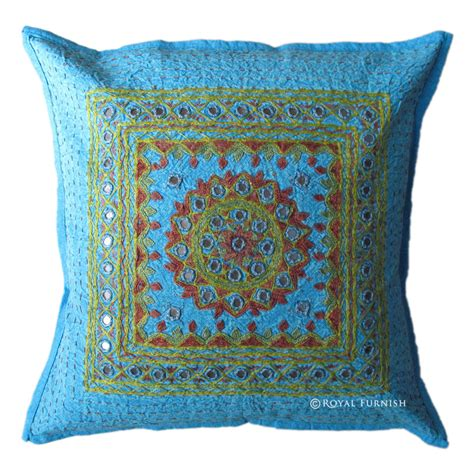 16 quot blue mirror embroidered decorative accent throw pillow