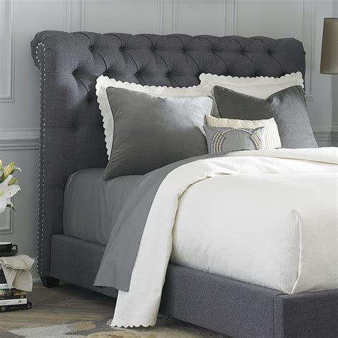 gray upholstered headboard king shop liberty furniture chesterfield gray king linen upholstered headboard at lowes