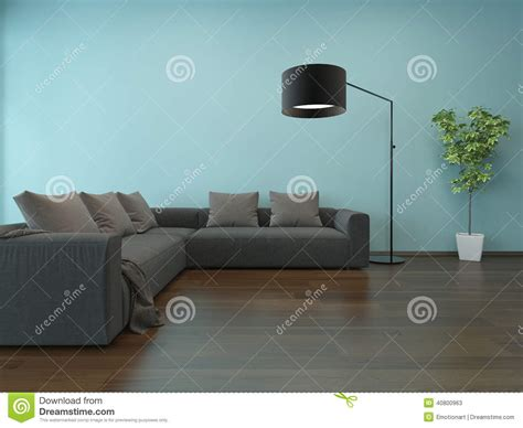 blue walls grey couch living room interior with blue wall and gray couch stock