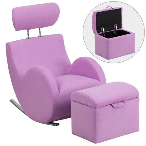 Chair With Storage Ottoman Flash Furniture Hercules Series Lavender Fabric Rocking Chair With Storage Ottoman Ld2025lvfab