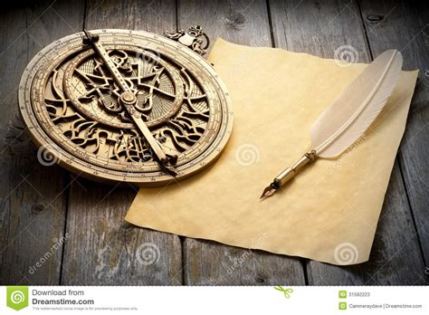 Wood Used To Make Paper - astrolabe paper quill pen stock photos image 31582223