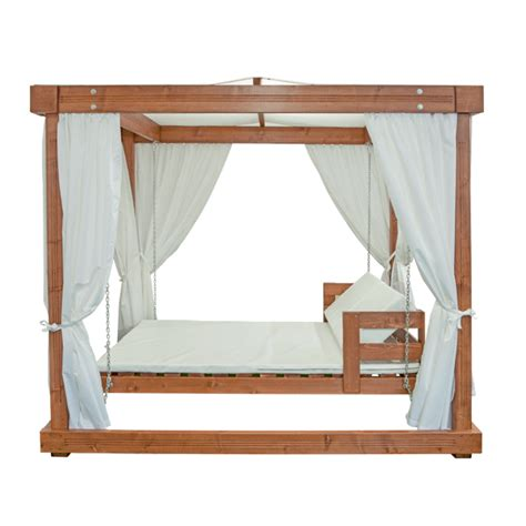 wooden swing bed wood beach pavilion swing bed