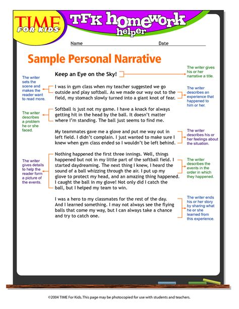 Exles Of Personal Narrative Essay by Personal Narrative Exle 5th Grade Teaching Personal Narratives Narrative
