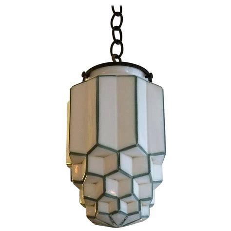 Art Deco Tiered Milk Glass Skyscraper Pendant Light At 1stdibs Deco Pendant Lighting