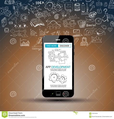 doodle user account app development infpgraphic concept background with doodle