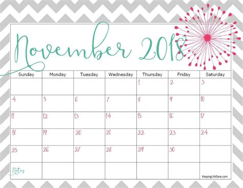 printable calendar 2018 fun free 2018 calendar to print keeping life sane