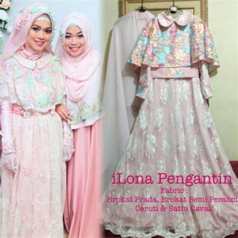 Renda Bordir Kerah Dada Warna Pink sa ma ra boutique butik baju pesta keluarga muslim gaun