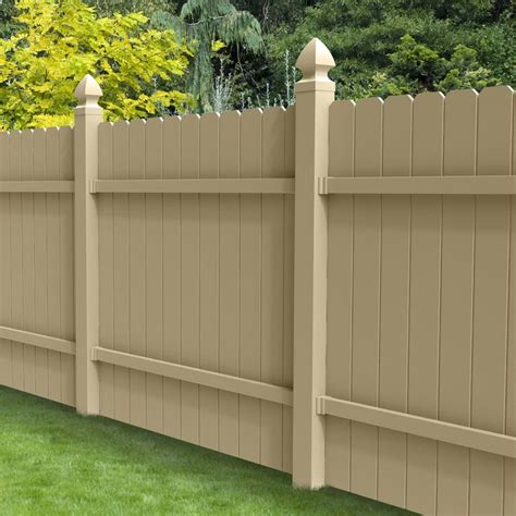 lowes ear fence shop barrette select desert sand ear privacy vinyl fence panel common 72 in x 6