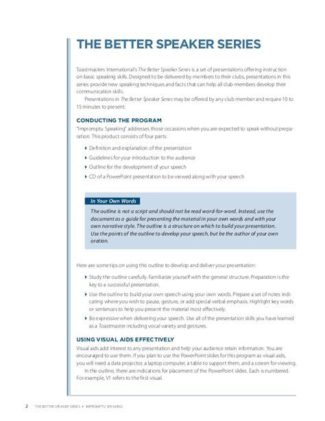The Manual Of Speaking impromptu speaking pdf