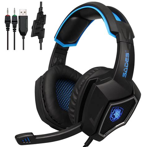 Headset Mic Gaming sades gaming headset stereo headphone 3 5mm wired w mic