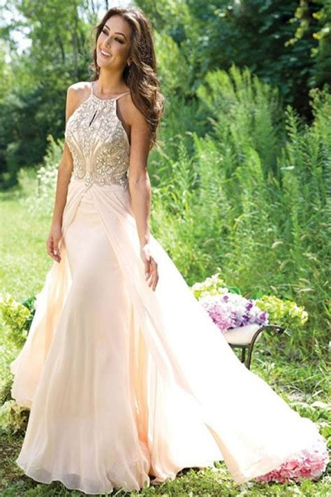 Design Real Dress Online | new design a line beaded backless long chiffon prom party