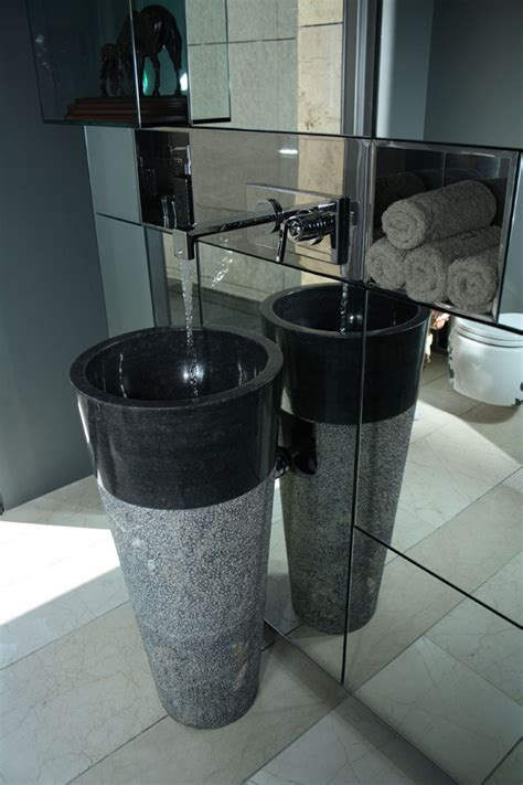 Stone Bathroom Design Ideas Free Standing Black Marble Pedestal Sink Bathroom 90 Cm X