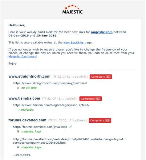 receive alerts of ads like this by email best new link alerts sent to your mailbox majestic blog