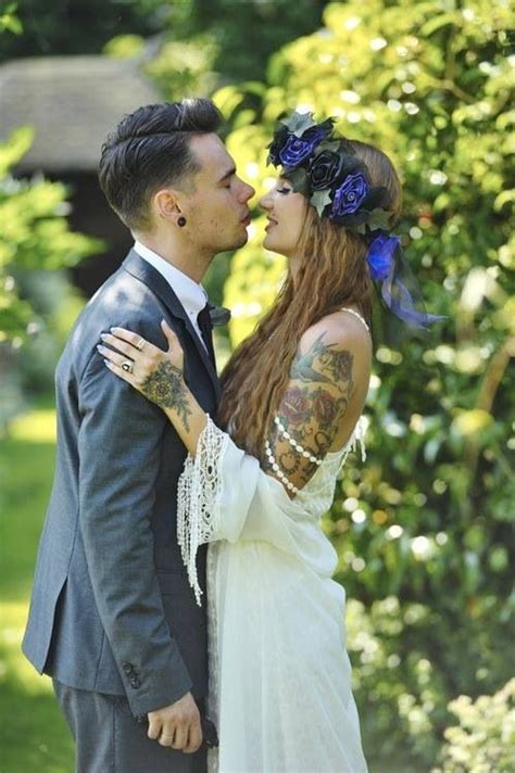 tattoo wedding photo tattooed couple at wedding love tattoo pinterest