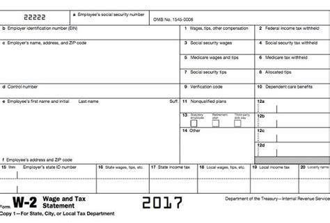 2018 W2 Form Printable