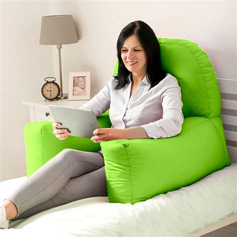 bed reading pillows lime cotton chloe bed reading pillow bean bag cushion arm