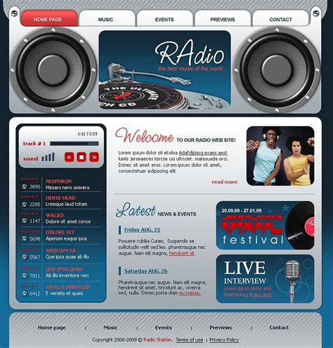 templates for radio website radio website flash template 22794
