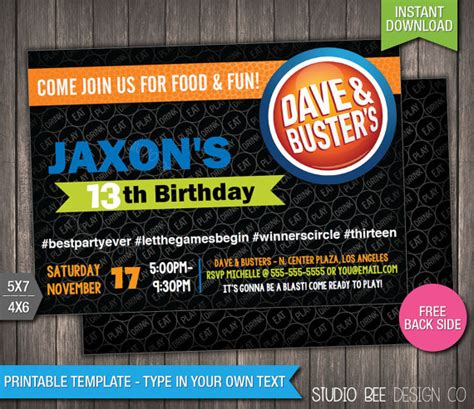 Where Can I Buy A Dave And Busters Gift Card - dave and busters birthday invitation instant by studiobeedesignco