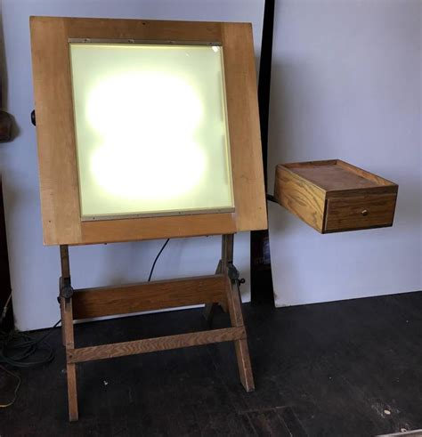 Drafting Table With Lightbox Hamilton Lightbox Drafting Table And Drawer Cast Iron And Oak At 1stdibs