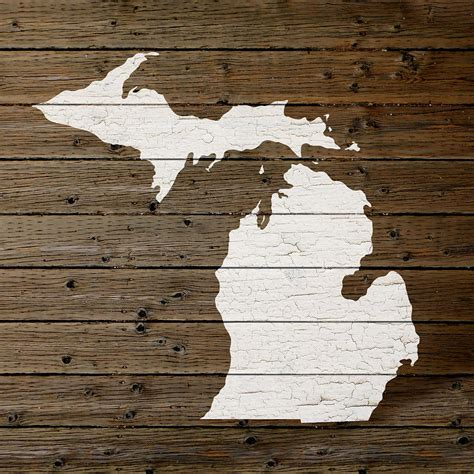 woodworking michigan map of michigan state outline white distressed paint on